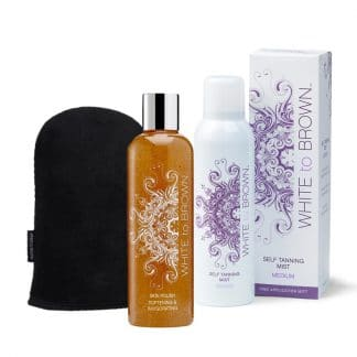 Whitetobrown spray mist medium + scrub + tanning mitt