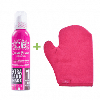 Cocoa brown extra dark + tanning mitt